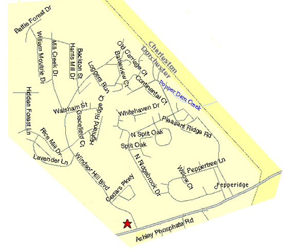 Street map of Windsor Hill Plantation (Incomplete)