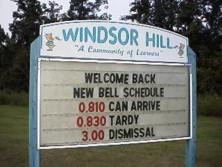 Previous Windsor Hill Elementary School message sign