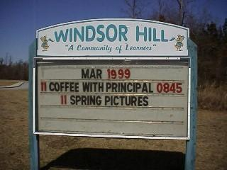 Windsor Hill Elementary School message sign